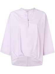 Humanoid Curved Hem Blouse Pink And Purple