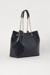 Handm H M Snakeskin Patterned Shopper Black