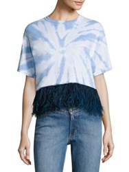 Opening Ceremony Feather Trim Cropped Tie Dye Tee Baby Blue