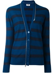 Sonia Rykiel By Striped Button Down Cardigan Blue