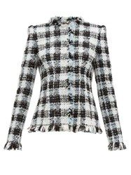 Alexander Mcqueen Single Breasted Checked Tweed Jacket Light Blue