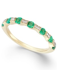 Macy's Emerald 1 3 Ct. T.W. And Diamond Accent Band In 14K Gold Green