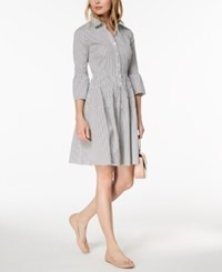 Maison Jules Striped Button Down Fit And Flare Dress Created For Macy's Blue Notte Combo