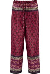Anna Sui Printed Silk And Cotton Blend Pants Magenta