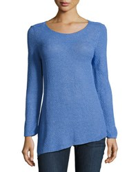 Nic Zoe Summer Stitch Long Sleeve Top Blue