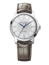 Baume And Mercier Classima Stainless Steel And Alligator Automatic Strap Watch Silver Brown