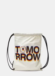 Stella Mccartney Tomorrow Print Canvas Drawstring Sport Backpack Cream