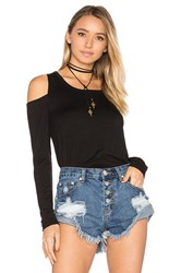 Chaser Long Sleeve Shirttail Cold Shoulder Tee Black