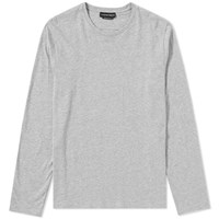 Alexander Mcqueen Long Sleeve Embroidered Logo Tee Grey