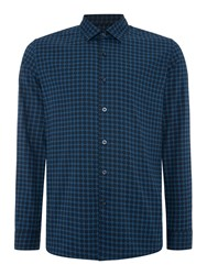 Peter Werth Daily Polka Dot Slim Fit Long Sleeve Button Down Blue