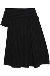 Dkny Pinstriped Wool Blend Mini Skirt Black