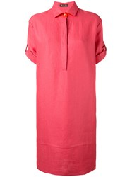 Loro Piana Turn Up Sleeve Dress Women Silk Linen Flax Spandex Elastane L Pink Purple