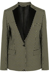 Jonathan Saunders Louise Printed Silk And Wool Blend Blazer Green