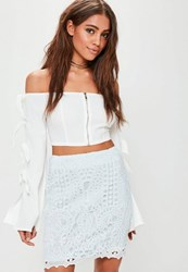 Missguided Blue Crochet Lace Lined Mini Skirt Mint