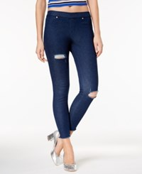 Hue Women's Original Denim Ripped Knee Leggings Ink Wash