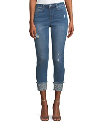 Nanette Nanette Lepore Cropped Pearled Cuff Jeans Blue