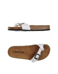 Bamboo Thong Sandals White