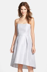Women's Alfred Sung Strapless High Low Dupioni Dress Dove