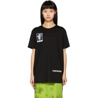 Juun.J Black Flower Print Synthesize T Shirt