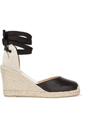 Soludos Lace Up Leather Wedge Espadrilles Black