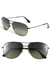 Women's Maui Jim 'Cliff House Polarizedplus' 59Mm Metal Aviator Sunglasses Gloss Black