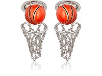 Jan Leslie Men's Basketball And Net Cufflinks Silver