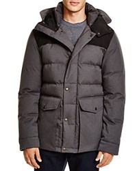 Cole Haan Mixed Media Hooded Down Jacket Charcoal