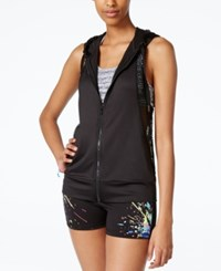 Material Girl Active Juniors' Hooded Mesh Vest Only At Macy's Black