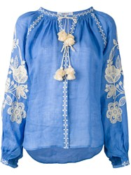 March 11 Embroidered Peasant Blouse Women Linen Flax L Blue