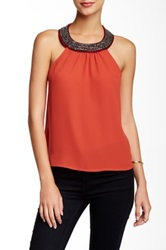 Socialite Beaded Neck Halter Tank Red