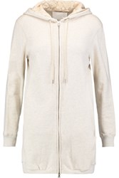 3.1 Phillip Lim Corded Lace Paneled Cotton Jersey Hooded Jacket Ivory