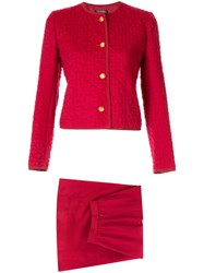 Chanel Pre Owned Floral Quilted Suit Red
