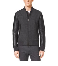 Michael Kors Leather Sleeve Wool Bomber Concrete