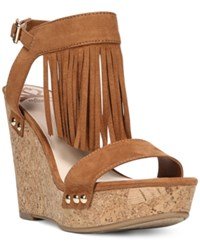 Fergalicious Vinni Platform Wedge Sandals Women's Shoes Cognac