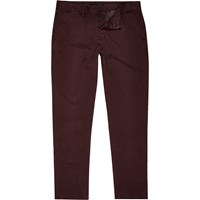 River Island Mens Berry Red Slim Chinos