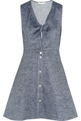 Maje Ruben Tie Front Linen Blend Chambray Mini Dress Dark Denim