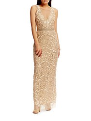 Nicole Miller Beaded Belt Embroidered Gown Gold