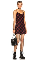 Adaptation Bias Plaid Slip Dress In Black Checkered And Plaid Red Black Checkered And Plaid Red