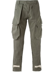 Off White Stylised Cargo Trousers Green