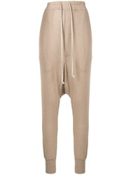 Rick Owens Lilies Drop Crotch Track Pants Nude And Neutrals