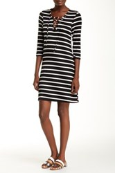 Christian Siriano New York Meghan Lace Up Nautical Stripe Short Dress Black