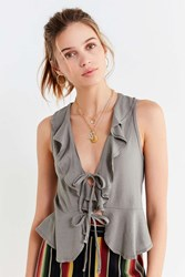 Truly Madly Deeply Rochelle Ruffle Tank Top Grey