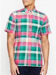 Paul Smith Ps By Check Print Short Sleeve Shirt Red Green Red Green