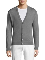 Isaia Ribbed Wool Cardigan Avio Light Grey