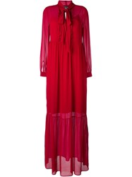 Twin Set Pussy Bow Longsleeved Maxi Dress Red