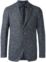 Tagliatore Notched Lapel Blazer Blue