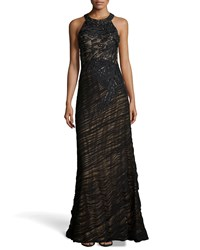 Sue Wong Sequined Shirred Halter Gown Size 4