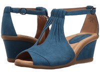 Earth Caper Baltic Blue Suede Women's Wedge Shoes