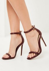 Missguided Burgundy Rounded Strap Barely There Heels