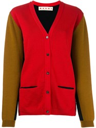 Marni Contrast Knitted Cardigan Red